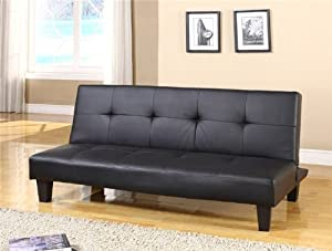 Joop Futon Sofa Bed in Black PU Leather       Customer review and more information