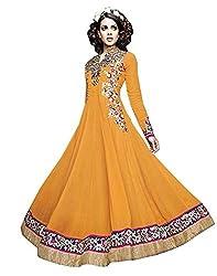 Mahaveer Fashion Women's Faux Georgette Semi-Stitched Anarkali (herrite_Yellow_Free Size)