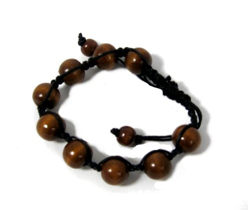 Boys/men Natural Wooden Bead Corded Bracelet in Brown
