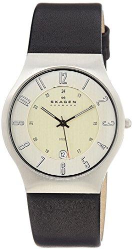 Skagen Designs UK - 233XXLSLC - Montre Homme - Quartz Analogique - Bracelet Cuir Noir