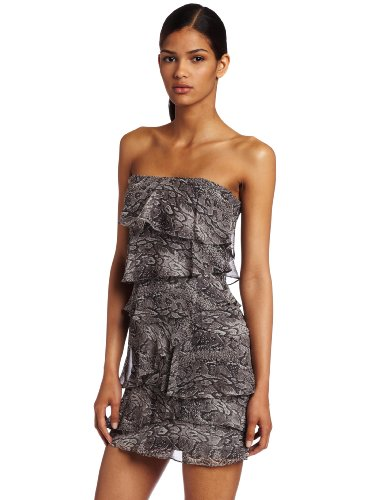 BCBGMAXAZRIA Women's Ginger Strapless Ruffled Tiered Dress