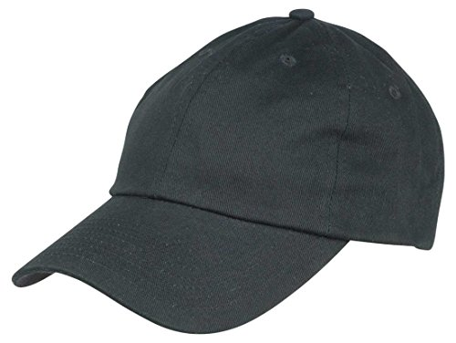 Unisex Cotton Cap Adjustable Plain Hat - Unstructured (14 Colors) (Black)