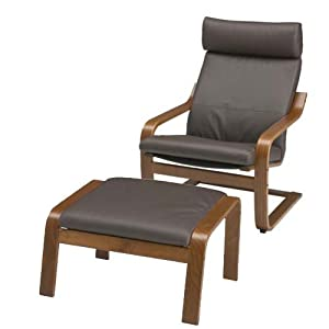 ikea poang chair armchair and footstool set with dark brown leather