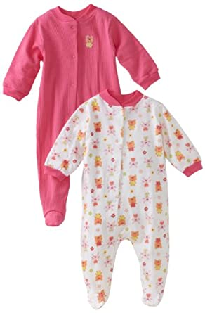 Gerber Baby-Girls Newborn 2 Pack Snap Front Sleep and Play , Pink, Newborn