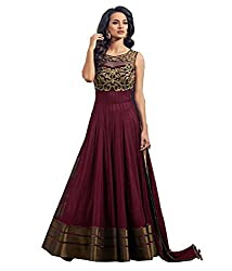 Pure Fashion Women's georgette gown Maroon (rk_095)
