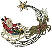 Large Santa and Reindeer German Pewter Ornament by Kuehn