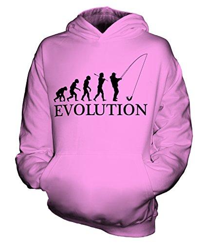CandyMix Angeln Fischfang Evolution Des Menschen Unisex Kinder Jungen/Mädchen Kapuzenpullover, Größe 7-8 Jahre, Farbe Rosa