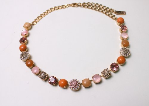 24K Rose Gold Plated Impressive Necklace from 'Love and Tenderness' 2013 Collection Designed by Amaro Jewelry Studio Ornate with Rose Quartz, Pink Aventurine, Pink Mussel, Swarovski Crystals and Fancy Elements