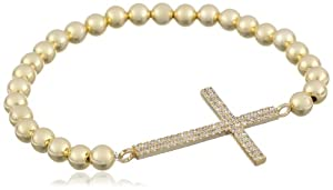 18k Gold Plated Cubic Zirconia Cross and Bead Bracelet, 7.5