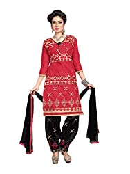 Suchi Fashion Red & Black Embroidered Cotton Dress Material