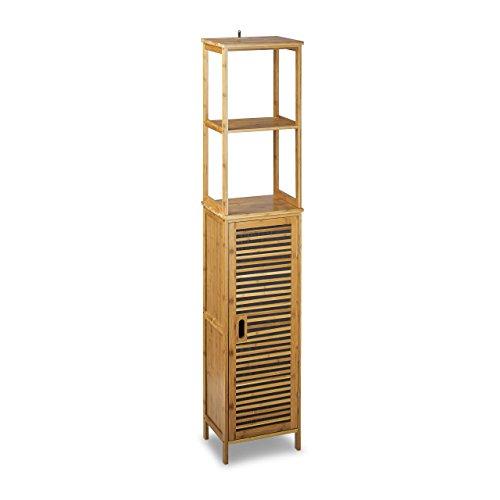 Relaxdays-Badregal-Bambus-HBT-170-x-335-x-28-cm-Badschrank-mit-6-Ablageflchen-mit-praktischen-Stauraum-fr-Badeaccessoires-als-Standregal-mit-Schrank-und-2-verstellbaren-Einlegebden-fr-Bad-natur