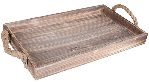 Dwellbee Rustic Wood Industrial Decorative Serving Tray