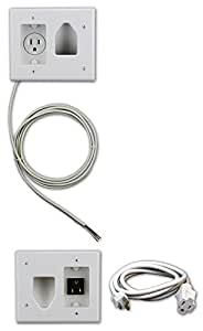 Datacomm 50-3323-WH-KIT Flat Panel TV Cable Organizer Kit with Power Solution - White