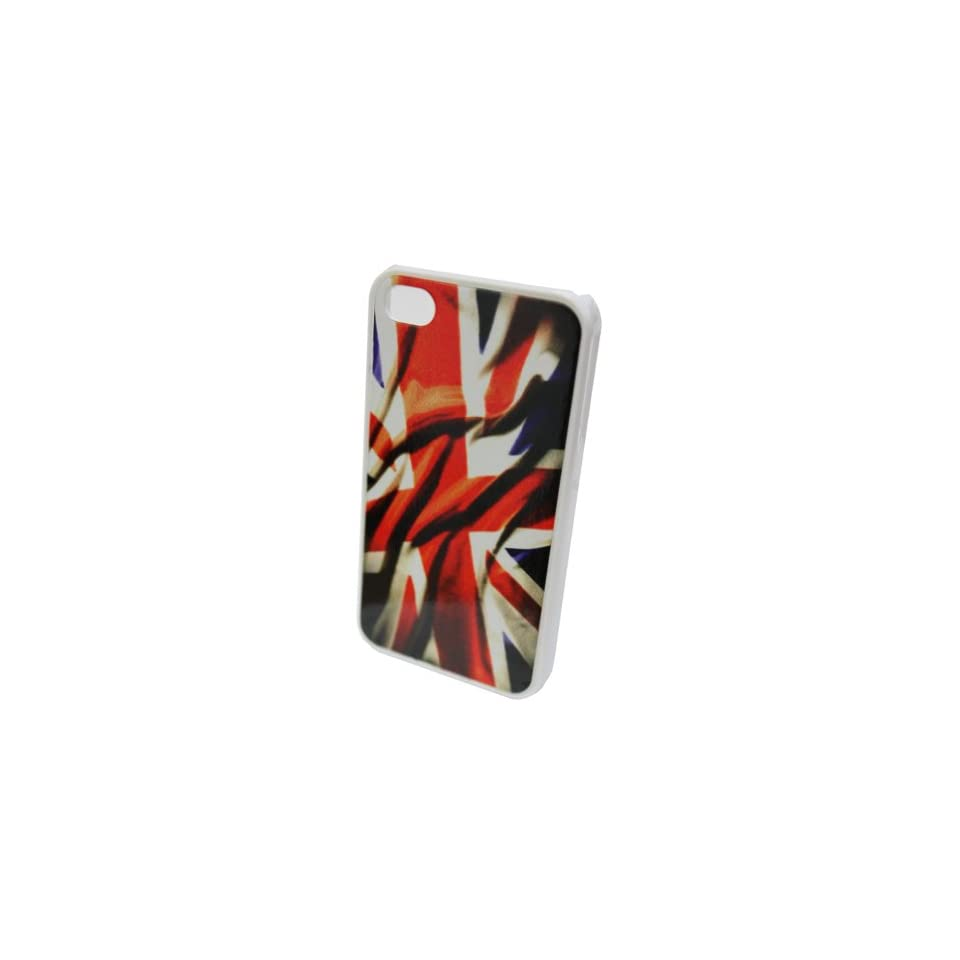 GO IC759 Classic Antique Rustic UK United Kingdom Flag Silicone Protective Hard Case for iPhone 4/4S   1 Pack   Retail Packaging   White