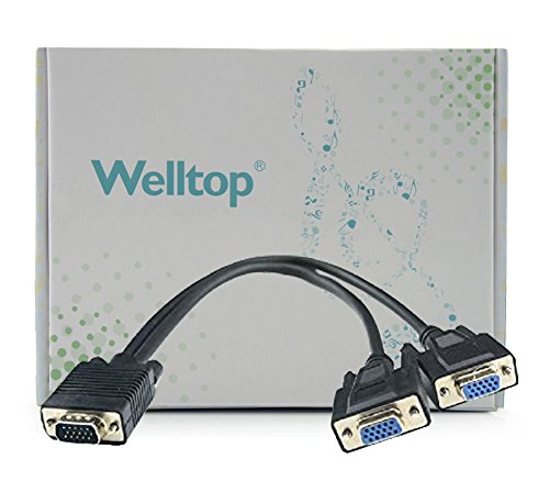 Welltop® 2014 Hot Sale 1 To 2 Vga Svga Monitor Y Splitter Computer Cable Lead 15 Pin For Pc/Computer/Tv/Projector,0.35 Meters