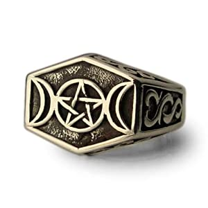 Bronze Crescent Moon and Pentagram Pagan Ring Arabic Islam Jewelry- Size S 1/2