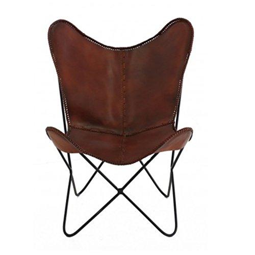 GreenAzur - Fauteuil BUTTERFLY cuir marron et pieds métal - FAUT01-BUTTER