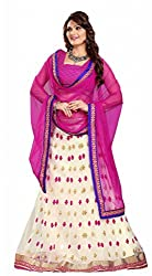Suchi Fashion Cream and Pink Embroidery Work Net Semi Stitched Lehenga