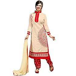 Manthan Chanderi Beige Embroidered Women's Chudidar Suit MNTKFMFDRMG36102
