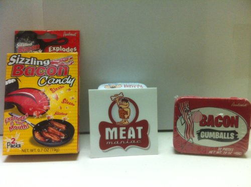 MEAT MANIAC Novelty Candy Combo Gift Pack with Sticker- Sizzling Bacon Candy & Bacon Gumballs (Meat Flavored Candy compare prices)