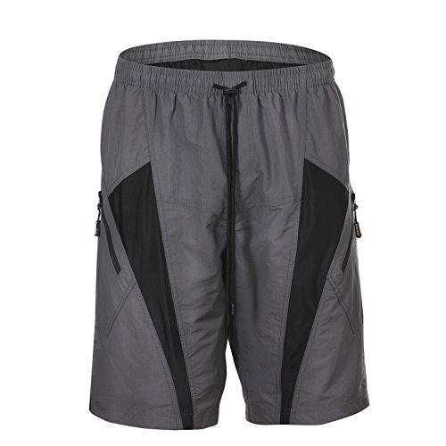 HAMSWAN Men's Loose-Fit Padded Breathable Bike Shorts for Cycling, Large, Gray Bike Cycle Short