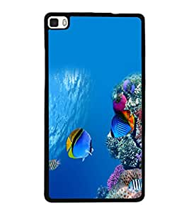 printtech Fish Coral Sea Back Case Cover for Huawei Honor P8