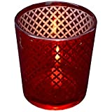 Red Glass Tea Light Votive & Candle Holder With Inside Silver Printing