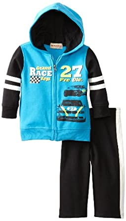 (新品)男宝两件套Kids Headquarters Baby-boys Infant Race Car Hoody Set$11.99