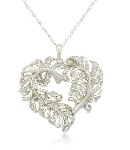 Sterling Silver Feather Heart Diamond Pendant Necklace (1/6 cttw, I-J Color, I2-I3 Clarity), 18