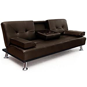"Modern ""Cinema"" Faux Leather 3 Seater Sofa Bed With Fold Down Drinks Table (SF12001-D02 Brown)"