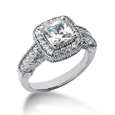 Princess  Wedding Rings on Engagement Ring Princess Cut Antique Pave Style   Wedding Rings Sets