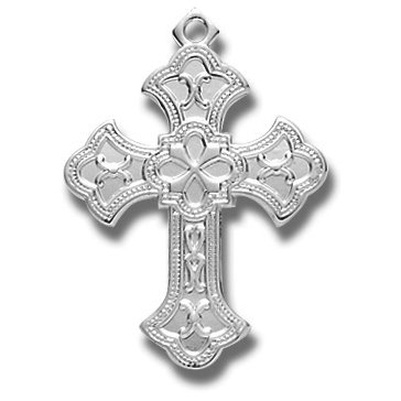 Sterling Silver Fancy Cross Medal Medal with 18