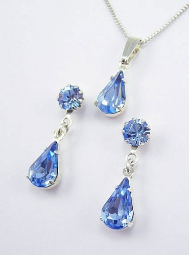 Lj Designs Light Sapphire Tiffany & Teardrop Set - Silver Finish - Swarovski Crystal