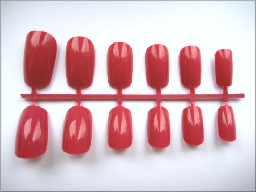 48 European Short Full Cover Artificial/False Nails - Red