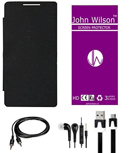 John Wilson Panasonic P55 Flip Cover Mobile All Cable Kit - Black + Screen Cover + Ear Phone + Aux Cable + Data Cable