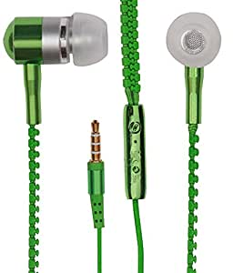 Zipper Style Earphones Headset Handsfree Compatible For Alcatel OneTouch Pixi 4 (6) -Green