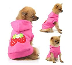 WAWO Small Strawberry / Bowknot Dog Cat Puppy Fleece Hoody Clothes Pet Apparel Dress Up - Pet Supplies by Accessorybee by WAWO