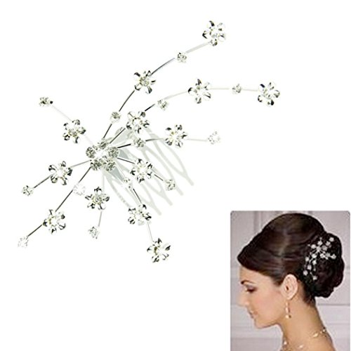 Voberry® Fashion Silver Personality Gem Crystal Wedding Bridal Princess Jewelry Crown Hair Jewelry Accessories (Silver1)