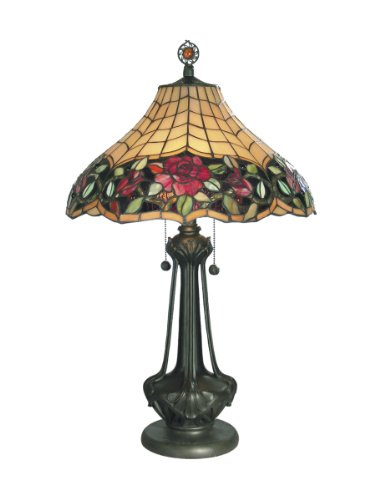 Dale Tiffany TT60581 Autumn Rose Table Lamp, Mica Bronze and Art Glass Shade