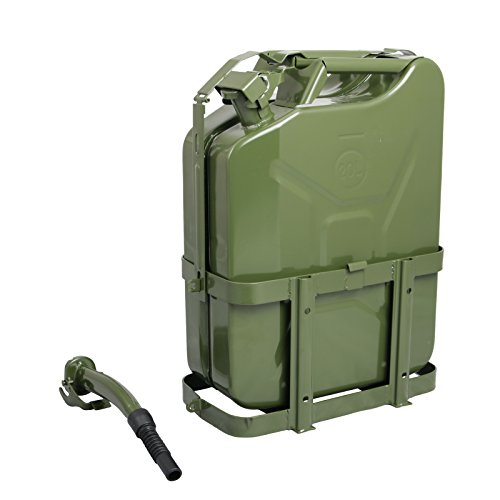 1pc 5 Gal (Gallon) - Green Jerry Can with Holder (Includes Nozzle & Spout) - Steel Metal Tank Gasoline Gas Fuel Petrol Emergency Backup Caddy Storage (20 Liters) (Jerry Cans Gasoline compare prices)