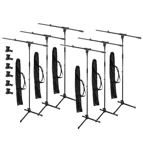 Podium Pro Adjustable Steel Microphone Stands, Booms, Clamp Clips And Bags 6 Stand Set Ms2Set10-6S