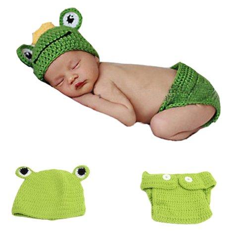 Topicker Newbaby Girls Boy Newborn 0-2 Year Knit Crochet Clothes Photo Prop Outfits (Frog)