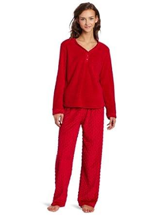 Of the Moment Women's Henley Velour Dot Pajama Set, Red, Medium