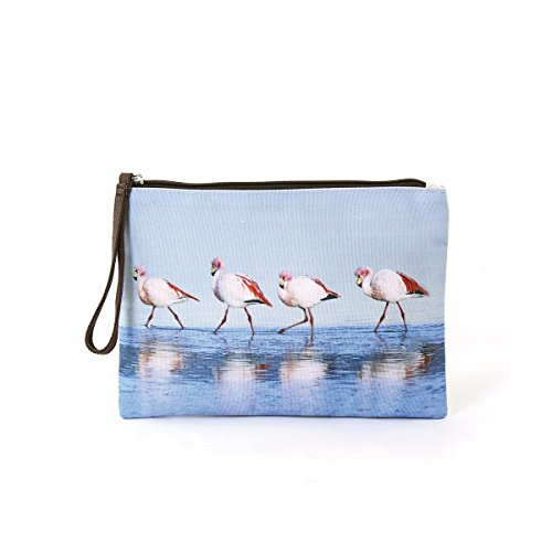 Walking Flamingos Scene Folding Zippered Clutch