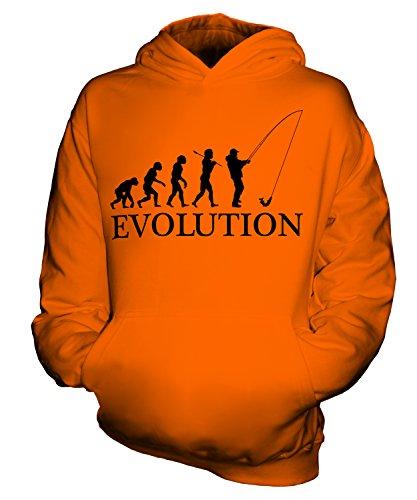 CandyMix Angeln Fischfang Evolution Des Menschen Unisex Kinder Jungen/Mädchen Kapuzenpullover, Größe 7-8 Jahre, Farbe Orange