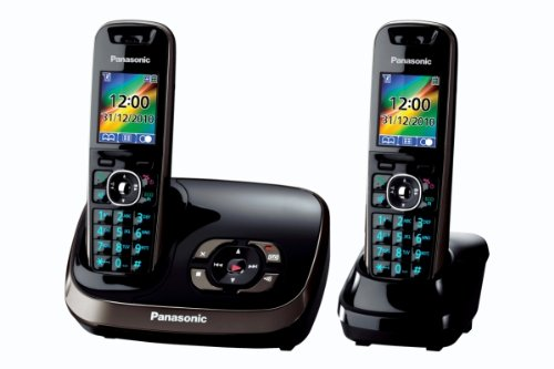 Panasonic KX-TG8522EB DECT Twin Digital Cordless Phone Set with Answer Machine - Black