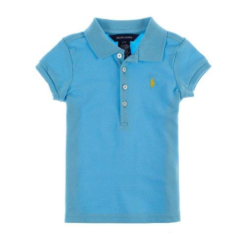 Ralph Lauren Girls Mesh Polo Shirt (12 Months, Light Blue) front-1032850