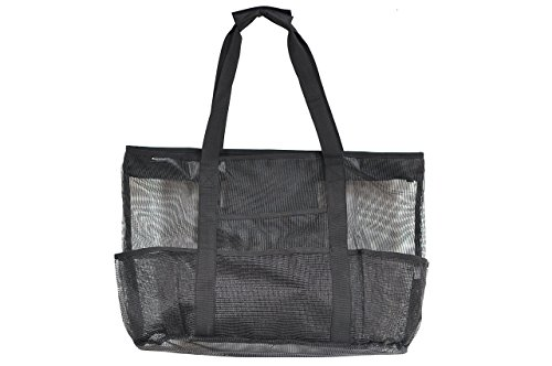 Mesh Beach Bag Large Black 24 x 16 by Victus Outdoors With Zip Top, Long 12in Handles, Inside Zippered Pocket, Spring Clip, 8 Big Outside Pockets, Sand and Water Drains Away, With Bonus Tote Bag (Parenthood Full Series compare prices)