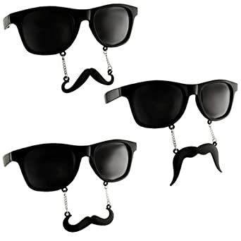 New Vintage Style Wayfarer Mustache Sunglasses 3 Pairs, All Black