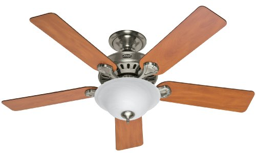 Hunter Fan Company 28723 Pro's Best 52-Inch 5-Blade Single Light Five Minute Ceiling Fan, Brushed Nickel with Chestnut/Blackened Rosewood Blades